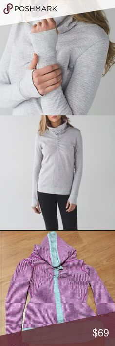 Lululemon 'In a Cinch' Pullover Great reversible Pullover, comfy and like new, grey reversible side is pink and grey stripes lululemon athletica Tops Sweatshirts & Hoodies