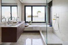 small bathroom design - fits both bath & walk-in shower plus double sink