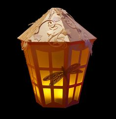 3D SVG Lantern with Dragonfly and vine detail DIGITAL by SVGHUT