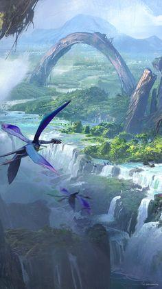 My Fantasy World, Fantasy City, Fantasy Places, Fantasy Art Landscapes, Fantasy Landscape, Landscape Art, Avatar Movie, Environment Concept Art, Fantasy Inspiration
