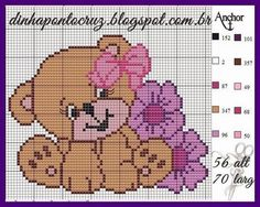 Teddy bear x-stitch Free Cross Stitch Charts, Cross Stitch For Kids, Cross Stitch Cards, Cross Stitch Baby, Cross Stitch Animals, Cross Stitching, Cross Stitch Designs, Cross Stitch Patterns, Embroidery Stitches