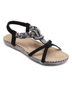 Black Embellished Loop Leather Sandal