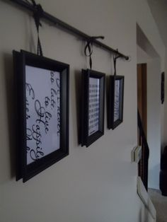 DIY: curtain rod, three frames, satin black ribbon. Click on the pic to find directions!