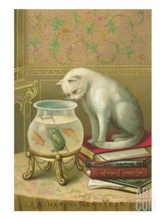 Vintage Cat & Fish Bowl