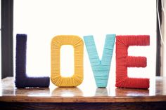 Yarn wrapped LOVE letters