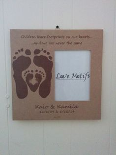 My latest Sibling Frame design!  Works best if older child is 4+ and younger child is under 1 year.   Sibling Frame 2 using Baby's actual Footprints.  by LoveMotifs.com #LoveMotifs