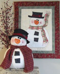 "Snowman+Quilt+Patterns | Chubby Snowman and Wall Quilt by "" CottonWood Creations """