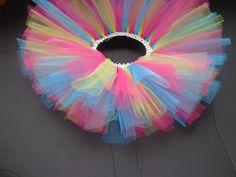 Bright Pink, Bright Blue and Yellow Tutu- Infant: Newborn tutu, tulle tutu, infant tutu, baby tutu, baby girl tutu, girl tutu, ballerina. $13.00, via Etsy.