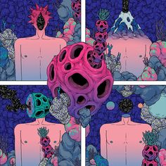 the abstract girl in the abstract wood Comic Manga, Weird Creatures, Behance, Psychedelic Art, Aesthetic Art, Art Music, Lovers Art, Art Inspo, Graphic Illustration