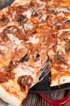 Meatball lasagna pizza ohsweetbasil.com