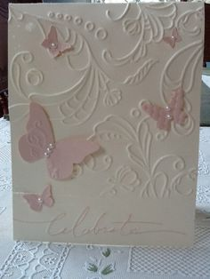 Stampin Up Anniversary Card for my mom Blush Blossom Beautiful Wings embosslit on  Very Vanilla cards stock emobossed with the Elegant Lines folder.