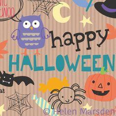 LenLovesDesign Halloween gift wrap pattern design