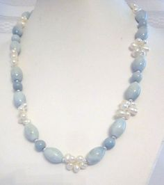 Necklace of Gorgeous Blue Amazonite and Top-Drilled White Freshwater Pearls, Sterling Silver, Handcrafted, Unique, OOAK, SRAJD