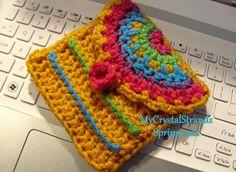 Neon Stripes Small Crochet Purse w/ Detachable by mycrystalstrands, $18.00