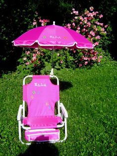 Personalized beach chair & umbrella for kids on Etsy, $30.00