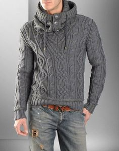 If a knit sweater is nessisary, it should be done like THIS. Cowl necks are usually quite flattering on men. -H
