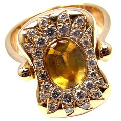 Hermes Citrine Yellow Sapphire Diamond Yellow Gold Flip Ring | From a unique collection of vintage cluster rings at https://www.1stdibs.com/jewelry/rings/cluster-rings/