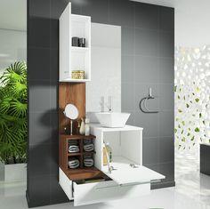 Gabinete para Banheiro com Espelheira Ravenna Celta Móveis (Não acompanha cuba e torneira) Branco/Nogal Sevilha