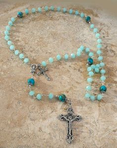 Aquamarine Opaque Crystal Sea Jasper Antique Silver Holy Mother Rosary