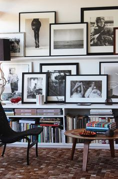 How to Sophisticate Home Interior with Gallery Wall: On Shelves Gallery Wall Designed In Black And White Equipped With Eye Catching Room Decor In Home Library Of Stunning House