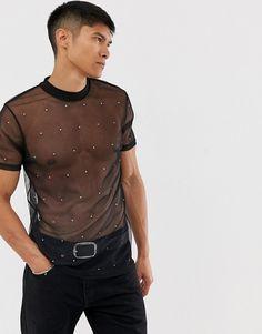 ASOS DESIGN t-shirt in mesh with embellishment in black Euphoria Men, Stylish Men, Men Casual, Mens Crop Top, Transparent Shirt, Gay Outfit, Foto Fashion, Asos Men, Androgynous Fashion