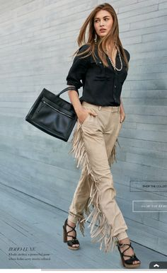 fringe pants. black button-down. Ralph Lauren