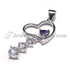 925 Silver Sweet heart Zircon Pendant (Electroplating platinum) with Free Chain