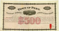 Town of Peru - Whitehall and Plattsburgh Railroad New York, 9 May 1867, 7 % Bond for US-$ 500, #7, 24 x 44.7 cm, black, red, folds, some coupons remaining, vignette with railway at a bridge of the Lake Champlain, the total volume of the bond was only US-$ 30,000! Only this bond is listed in Cox. Rarity from the collection of Tankred Menzel.