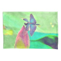 Iridescent Blue Dragonfly on Waterlily Pillowcase  Iridescent Blue Dragonfly on Waterlily Pillowcase  			  		 			 $22.25  			 by  Tannaidhe  http://www.zazzle.com/iridescent_blue_dragonfly_on_waterlily_pillowcase-256611332034025111