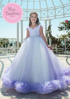 New Purple Puffy Tulle Flower Girl Dress for Weddings Short Sleeves Ball Gown Girl Party Communion Pageant Gown Vestidos Kids Prom Dresses, Little Girl Dresses, Flower Girl Dresses, Birthday Girl Dress, Birthday Dresses, Kids Gown, Communion Dresses, Ball Gown Dresses, Looks Cool