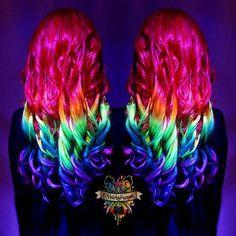 Rainbow blacklight hair anyone?  @arcticfoxhaircolor #arcticfoxhaircolor @manicpanicnyc #manicpanic