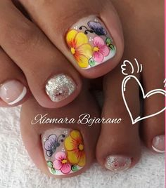 Feet Nail Design, Toe Nail Designs, Feet Nails, Toe Nail Art, Pretty Nails, Pedicure, Nailart, Beauty, Toenails