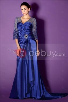 Attractive Pick-ups Beading Sheath V-Neck Sweep/Brush Train Taline's Mother of the Bride Dress : Tidebuy.com