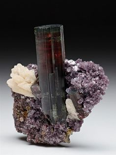 A classic Tourmaline combination specimen with Lepidolite and Albite from the well known Cruzeiro Mine, Brazil.