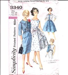 1960 Womens Dress  Simplicity 3340 Vintage Pattern by ErikawithaK, $13.00