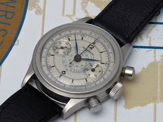 Tavannes waterproof step case chrono with a beautiful sector dial.