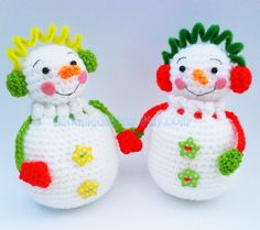 Free English Crochet Patterns Amigurumi | HandmadeKitty: Snowman Couple Pouch Gift Bag Amigurumi Crochet Pattern