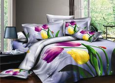 Purple 4 Piece Cotton Bedding Sets with colorful Tulips : Tidebuy.com