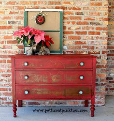 Red Dresser Transformation by {Pettikoat Junktion} #PaintedFurniture #Red