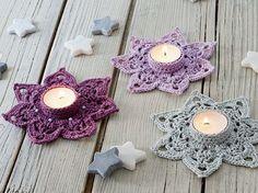 Stars from & # Loving crochet ideas for Christmas & # Crochet Home, Crochet Gifts, Free Crochet, Knitting Patterns, Crochet Patterns, Crochet Ideas, Crochet Wedding, Crochet Dishcloths, Tea Lights