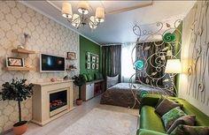 Камин для зонирования пространства в гостиной спальне