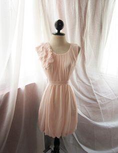 Delicate Heavenly Soft Misty Blush Pink Dreamy Romantic Havisham Mille Feuille Chiffon Rose Tea Party Dress
