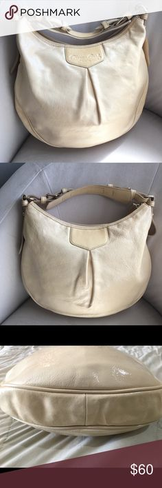 Dooney & Bourke khaki patent leather handbag Light tan patent leather handbag. GUC-no stains, holes, inside is clean. The leather has small cracks along the hand and zipper area—definitely still has lots of life and use. Photos included Bags Hobos