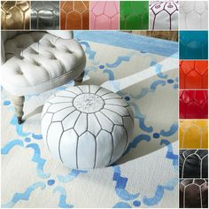 Add a touch of fun to your living room with this cute Moroccan pouf ottoman that comes in your choice of playful colors. This handmade ottoman is crafted from genuine leather pieces and filled with dense cotton to provide shape and comfort.