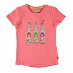 Kidz-Art shirtje Girl in a bottle soft neon zalm