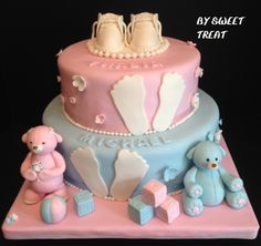 TWINS BABY SHOWER CAKE BY SWEET TREAT www.sweettreatusa.com