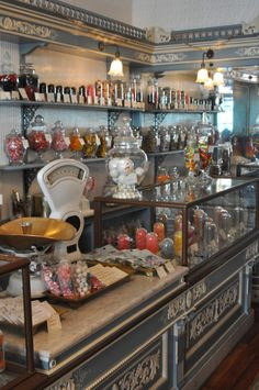 Candy at The General Store. Buying it by the pound. See the moldings, could do something simple with different colored paints