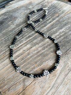Black & Silver Daisy ChokerDaisy NecklaceFlower by LamornaDesign