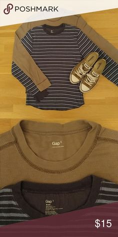 Gap Thermal Shirts Set of 2 Gap long sleeved thermal shirts.  Tan shirt is in like new condition and blue one has been previously loved. GAP Shirts Tees - Long Sleeve