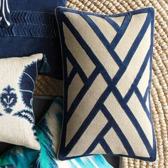 sim to / go by Line Pattern Velvet Applique Pillow Cover, Navy #williamssonoma